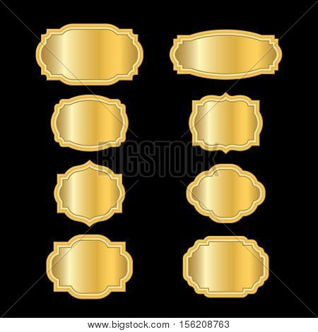 3d3b97e314c1 Gold frames. Beautiful simple golden design. Vintage style decorative  border isolated on black background