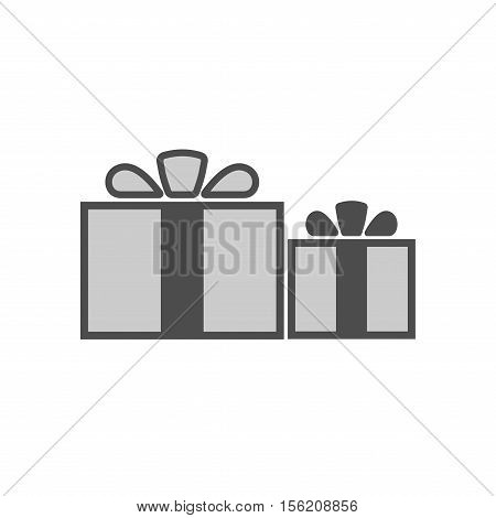 Christmas gifts ribbons icons set. Giftbox black signs decoration isolated on white background. Flat design. Symbol of New Year celebration presents surprise Xmas holiday Vector illustration