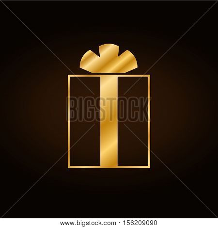 Christmas gold gift with ribbon icon. Giftbox golden flat sign decoration isolated on black background. Symbol New Year celebration presents birthday Merry Xmas holiday Vector illustration