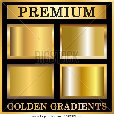 Gold texture square patterns in frame set. Light realistic shiny metallic golden gradient templates collection. Abstract metal decoration. Design for award sale background. Vector Illustration