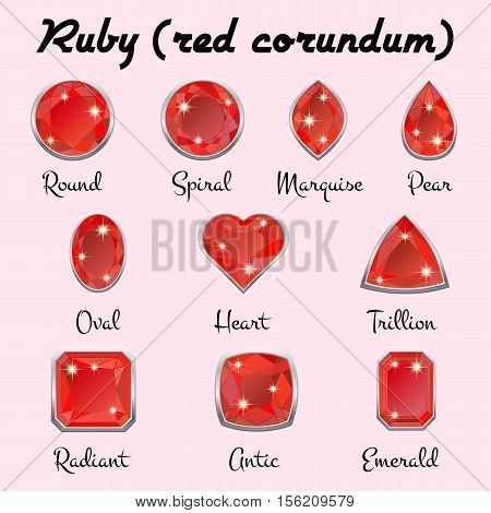 Set of different types of cuts of precious stone Ruby in realistic shapes in red color with silver edging. Vector illustration