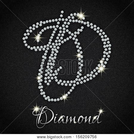 Calligraphic letter D from realistic crystals with sparkles of precious stone Diamond on black denim background. Vector illustration
