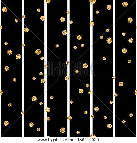 Gold polka dot on lines seamless pattern background. Golden foil confetti. Black and white stripes. Christmas glitter design decoration for card wallpaper wrapping textile. Vector Illustration