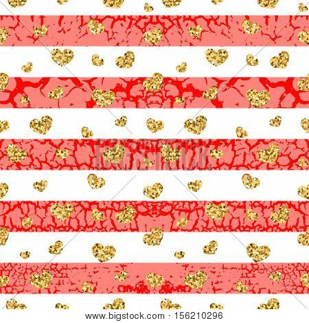 Gold grunge hearts craquelure stripes seamless pattern. Golden glitter confetti. White and red background. Love Valentine day wedding design card wallpaper wrapping textile Vector Illustration