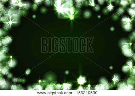 Green sparkle frame abstract black background. Light shiny border glitter. Merry Christmas card Happy New Year celebration pattern. Holiday festive invitation design. Vector illustration