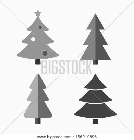 Christmas tree cartoon icons set. Black silhouette decoration trees signs isolated on white background. Flat design. Symbol of holiday winter Christmas celebration New Year Vector illustration