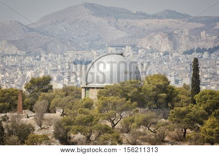 Observatory Building at Nymphs' Hill in Thissio, Athens, Greece