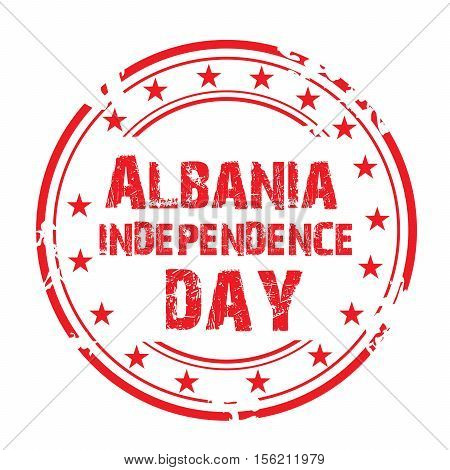 illustration of a Stamp For Albania Independence Day. poster