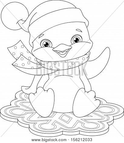 Cute penguin flies on a snowflake, Coloring Page