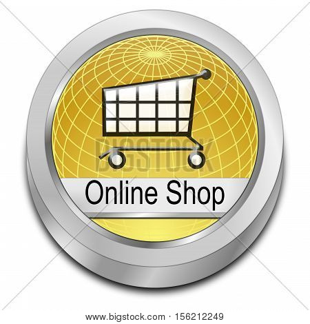 golden online Shop Button - 3D illustration