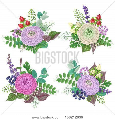 Bunches of flowers isolated on white. Romantic bouquets with buttercup floral elements and berries.