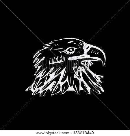 Hand-drawn pencil graphics, bird, eagle, hawk, kite, vulture. Engraving, stencil style. Black and white logo, sign emblem symbol Stamp seal Simple illustration Sketch