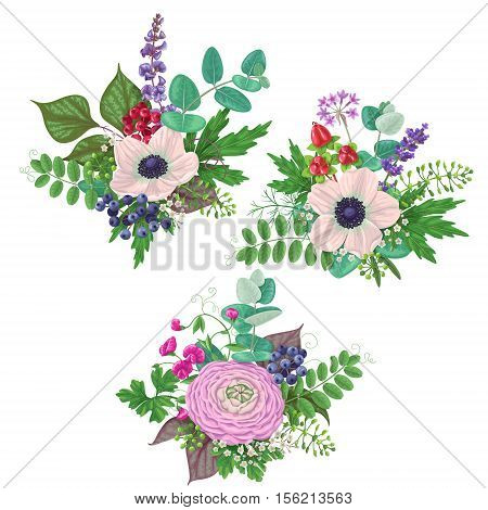 Bunches of flowers isolated on white. Romantic bouquets with cream color anemone buttercup floral elements and berries.
