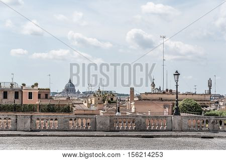 Rome Italy - August 18 2016: View of Rome from the Quirinal Square. The Quirinal Palace is a historic building in Rome official residence of the President of the Italian Republic.