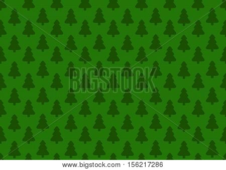 Pattern for wrapping paper. Christmas tree on a green background.