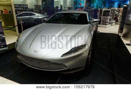 DUBAI UAE - NOVEMBER 8 2016: A 2016 Aston Martin DB10 at The Gallery in Burj Khalifa skyscraper. Aston Martin coupe.