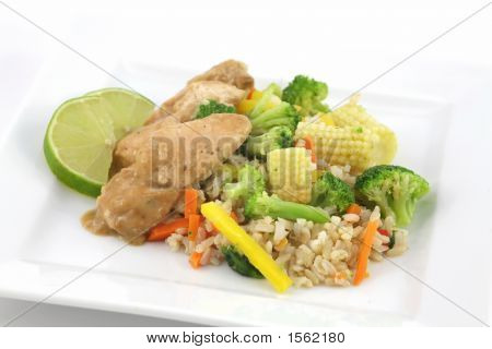 Thai Chicken With Rice And Fresh Vegetables