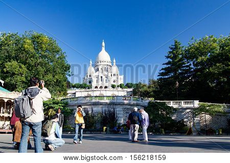 PARIS, FRANCE, crica april 2016. The Sacre coeur, view from View from Saint Pierre Square. In Montmartre