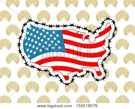 Us Map With Barbed Wire. America Closes Border In Relation To Immigrants And Refugees. Country Prote