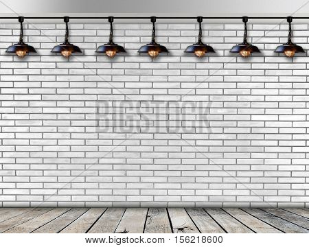 Ceiling lamp whit White Brick wall and wood floor