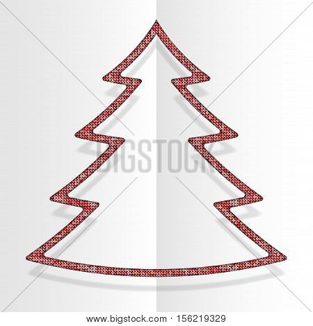 Red sequins in the form christmas tree. Mosaic sequins glitter sparkle stars. Background holiday. Winter. New Year.