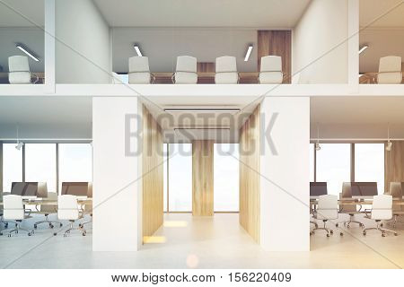 Two Storey Office With Conference Rooms And Computers, Toned