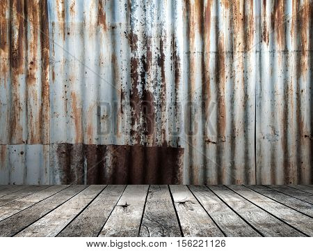 Rusted galvanized iron plate with wood floor