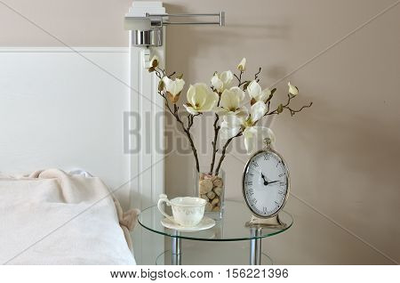 Clock And Cup In Bedroom