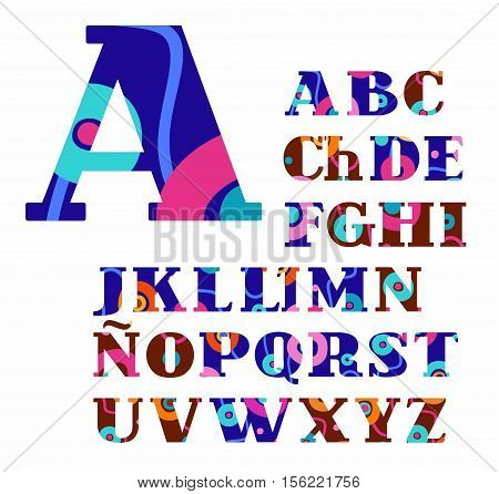 Spanish alphabet, abstract, circles, colorful, vector font. Blue and brown uppercase letters of the Spanish alphabet with orange, pink and green circles. Letters with serifs. An abstract pattern.
