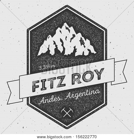 Fitz Roy In Andes, Chile Outdoor Adventure Logo. Pennant Expedition Vector Insignia. Climbing, Trekk