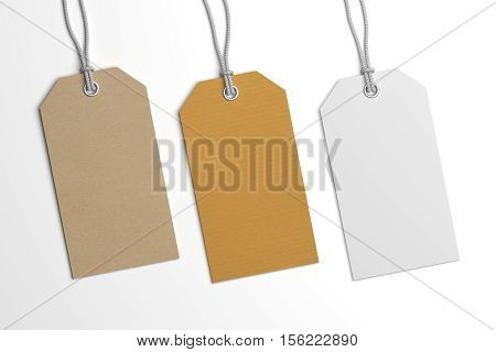 Collection of various price or brand label hang tags. 3D illustration blank mockup with paper texture.