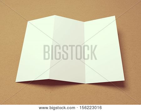 Blank vintage tri-fold 3D illustration brochure mock-up with shadow on recycled textured paper.