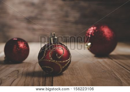 Decorative Christmas Baubles, Christmas Ball On Wood In Dark Tone Still Ife.