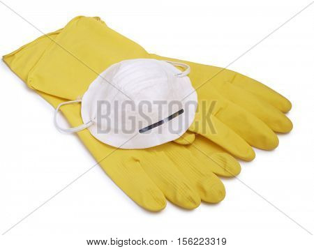Protective face mask and rubber gloves on a white background