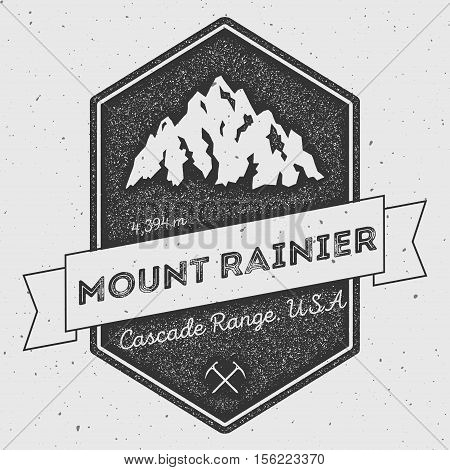 Mount Rainier In Cascade Range, Usa Outdoor Adventure Logo. Pennant Expedition Vector Insignia. Clim