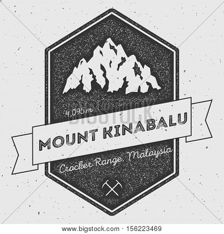Mount Kinabalu In Crocker Range, Malaysia Outdoor Adventure Logo. Pennant Expedition Vector Insignia