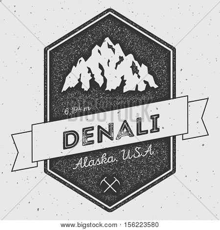 Denali In Alaska, Usa Outdoor Adventure Logo. Pennant Expedition Vector Insignia. Climbing, Trekking