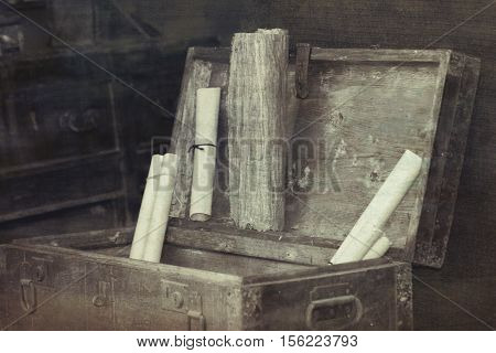 old coffer container in the ancient hut