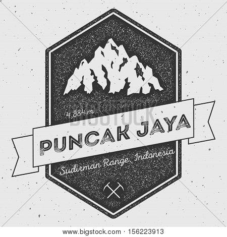 Puncak Jaya In Sudirman Range, Indonesia Outdoor Adventure Logo. Pennant Expedition Vector Insignia.