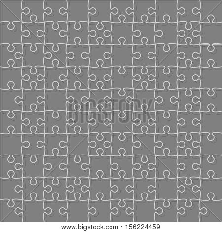 100 Grey Puzzles Pieces Arranged in a Square - JigSaw - Vector Illustration.