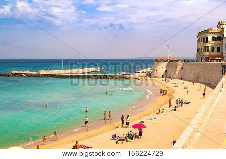 Gallipoli Italy - July 30 2014: Scenic view of Gallipoli waterfront Salento Apulia Italy