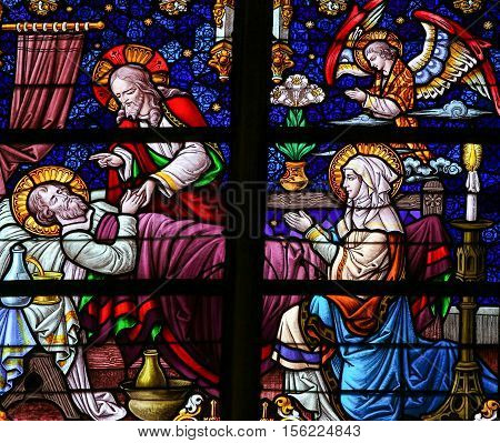 Deathbed Of Saint Joseph - Stained Glass
