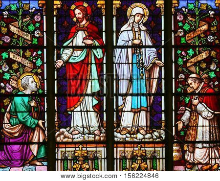 Stained Glass - Jesus And Mother Mary