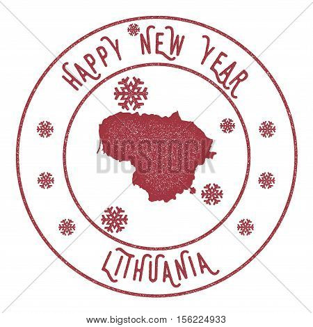 Retro Happy New Year Lithuania Stamp. Stylised Rubber Stamp With County Map And Happy New Year Text,