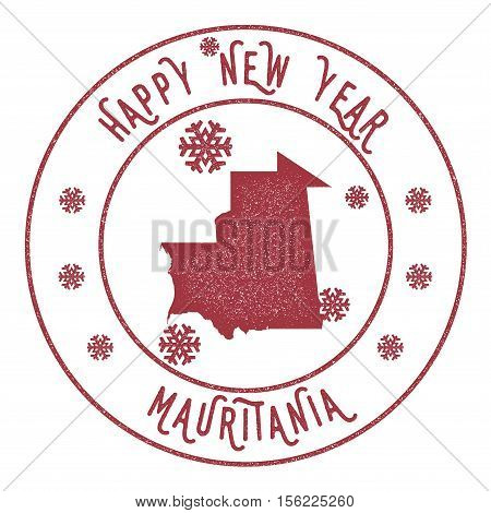 Retro Happy New Year Mauritania Stamp. Stylised Rubber Stamp With County Map And Happy New Year Text