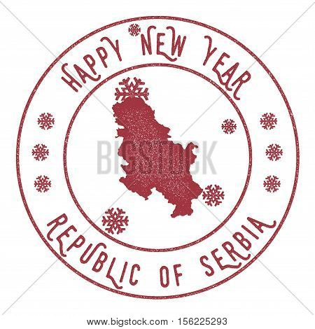 Retro Happy New Year Serbia Stamp. Stylised Rubber Stamp With County Map And Happy New Year Text, Ve