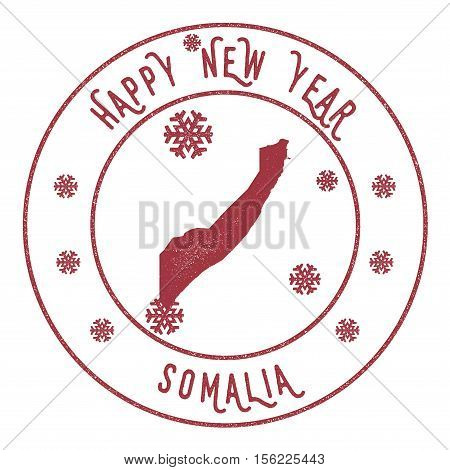 Retro Happy New Year Somalia Stamp. Stylised Rubber Stamp With County Map And Happy New Year Text, V