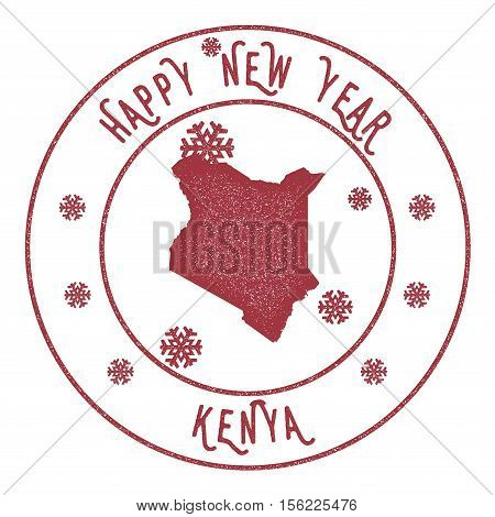 Retro Happy New Year Kenya Stamp. Stylised Rubber Stamp With County Map And Happy New Year Text, Vec