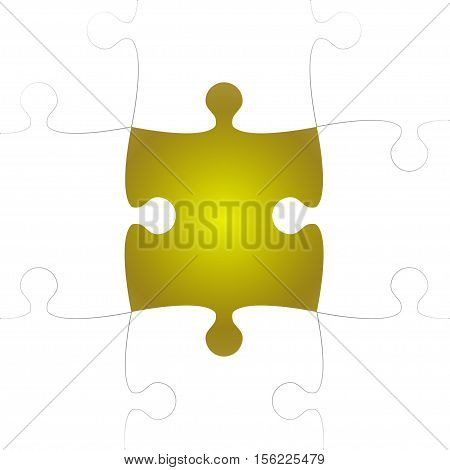 Vector Background made from White Puzzle Pieces with One Yellow Missing. Piece Flat Puzzle Infographic Presentation. Step Circle Business. One Section Compare Service Banner.