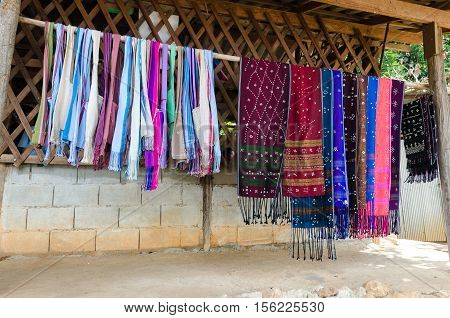 Hand made clothes made by Karen tribes in Thailand